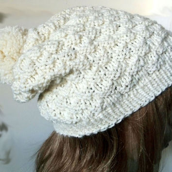 FREE SHIPPING-Hand Knitted Women Hat in Ecru with Pom Pom,Men Hat,Warm Winter Hat,Handmade Hat,Knit Women Accessory,Men Accessory,Unisex Hat