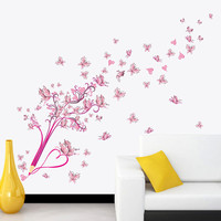 Colorful Pencil Flying Flower Floral Butterflies Wall Stickers Decals Living Room Bedroom TV Sofa Background Decor Mural Poster SM6