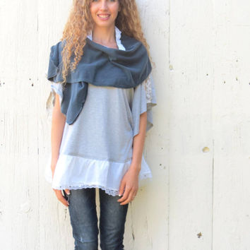 Upcycled clothing , navy blue scarf wrap , romantic style accessory , recycled clothes , indie fashion , street style scarf by wear love now
