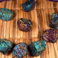 "PEACOCK ORE ""The Stone of Happiness"" Brings Freshness & Renewal Magical Birthing Stone - Chalcopyrite Rainbow Pyrite"
