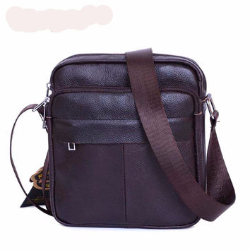 Genuine Leather Men Shoulder Bags New Fashion Hot Male Handbag Small Crossbody Messenger Bag Travel Bolsa Brown Men's Satchels