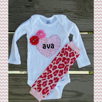 Personalized First Valentine's Day outfit - Heart - Cheetah Print- Baby Girl - Onesuit - Headband - Leg Warmers - 2014 - Quatrefoil
