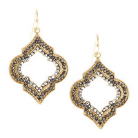 Hematite Quatrefoil Golden Earrings