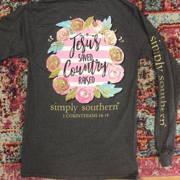 Simply Southern Jesus Saved Country Raised Long Sleeve Tee