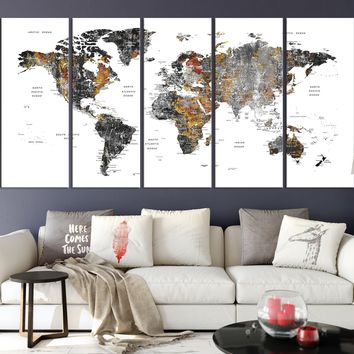 N14450 - Modern Large Grunge Wall Art World Map Map Push Pin Canvas Print for Living Room Decor Art- Ready to Hang