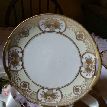 NORITAKE vintage 1930s cake/cookie plate/stunning item /cream china with handpainted gold design basket of flowers pattern/ships worldwide