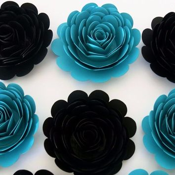 """Black and Teal Wedding Flowers, big 3"""" blossoms, exquisite paper roses, set of 6, bridal party gift idea, Floral decor for arch, Home decorating"""