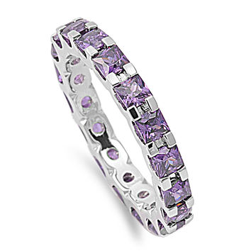 925 Sterling Silver CZ Alternating Eternity Simulated Amethyst Ring 3MM