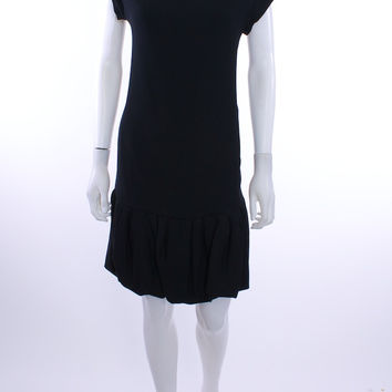 RED VALENTINO BUBBLE HEM DROP WAIST BLACK CREPE DRESS SIZE 6