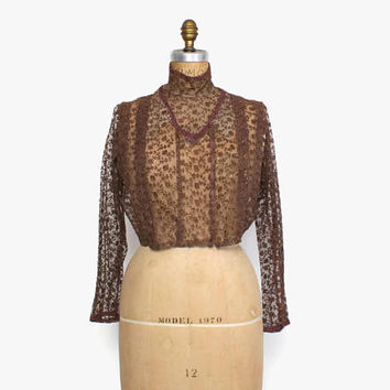 VICTORIAN Lace BLOUSE / Vintage High Neck Brown Embroidered Net Lace Bodice Top