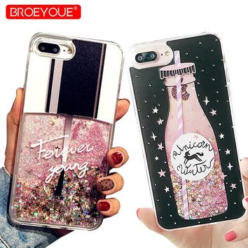 Phone Case For iPhone X SE 5S 5 Cases Bling Glitter Liquid Quicksand Cases For iPhone X 8 6S Plus 6 6S 7 8 Plus Cover Capa Coque