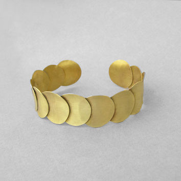 Cuff bracelet bangle, disc circles golden brass bracelet, handmade boho chic bracelet, ancient Greek jewelry