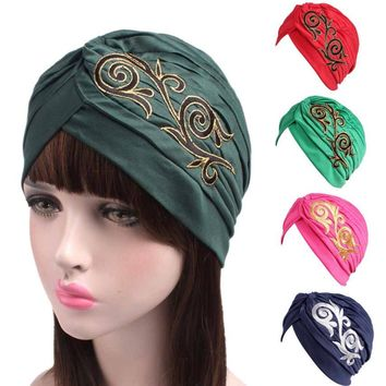 Brand New Embroidery Women Cancer Chemo Hat Beanie Scarf Turban Head Wrap Cap Colorful beanie Hats for Cancer Chemo Patients