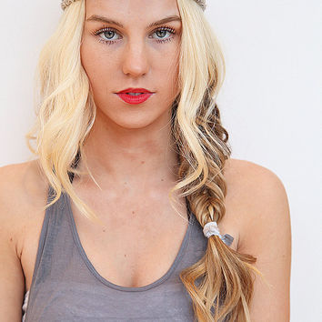 Beach Headband Double Braid Hair Band Hippy Style Summer Hairwrap