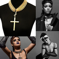 Absolutely Showstopper, Chic Chain Choker with a Big Bold Cross Pendant, Rihanna Inspired Necklace
