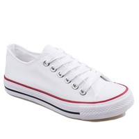 Preppy Style Women's Canvas Shoes With Round Toe and Lace-Up Design