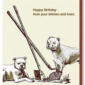 Happy Birthday from Your Bitches and Hoes Card