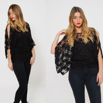 Vintage 80s LACE Top Black BEADED Kimono Sleeve Top SHEER Evening Tunic Open Shoulder Top