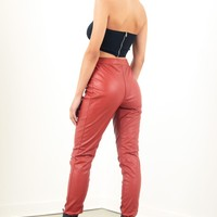Sorella Back Laced Up Leather Pants - Red