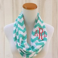 Monogrammed Chevron Print Infinaty Scarf 12 Colors To Choose From