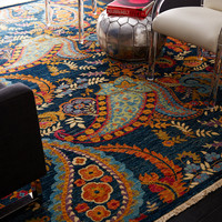 "One Kings Lane - Eye-Catching Designs - 8'1""x9'10"" Omana Rug, Navy/Multi"