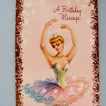 Vintage Girls Ballerina Birthday Card Clean Unused With Original Envelope Ballet Gifts A Sunshine Card Feminine Pink Ballerina