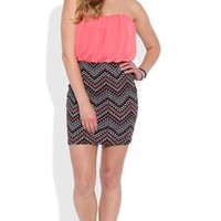 Tribal Print Strapless Bodycon Dress with Chiffon Bodice
