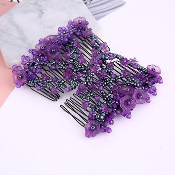 Fashion Multifunction Women Hair Clips Flower Bead Decoration Hair Claws Headwear Comb Hairpins Ladies Hair Accessories
