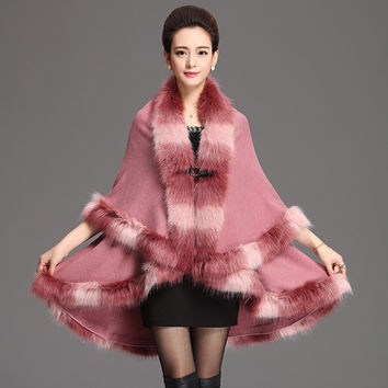 Wool cape shawl cardigan sweater 2016 new faux fur collar big yards loose bat sweater autumn/winter womens capes and ponchoes