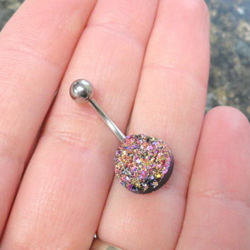Iridescent Pink and Gold Druzy Belly Button Jewelry Ring