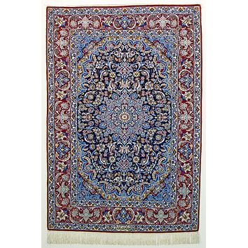 Oriental Isfahan Super Fine Wool and Silk Persian Rug, Blue/Red