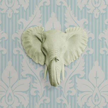 The MINI Savannah Sage Green Faux Taxidermy Resin Elephant Head Wall Mount | Sage Green Elephant w/ Colored Tusks