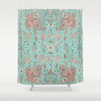 Shower Curtain 'Teal and pink floral'
