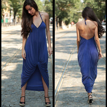 Romantic Royal Blue Drape Maxi Dress // Asymmetric Backless Sapphire Blue Dress // Daring Spaghetti Straps Cobalt Blue Dress