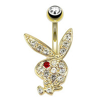 Paved Gem Playboy Bunny with Red Gem Eye Gold Plated Navel Ring