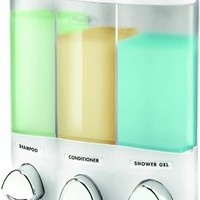 Euro Series TRIO Three Chamber Soap and Shower Dispenser, White:Amazon:Home & Kitchen