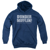 THE OFFICE/DUNDER MIFFLIN DISTRESSED-YOUTH PULL-OVER HOODIE - NAVY -