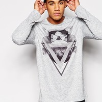 ASOS Longline Long Sleeve T-Shirt In Nepp Fabric With Print