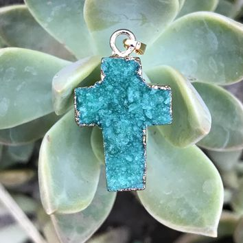 Green Druzy Cross Necklace #I1070