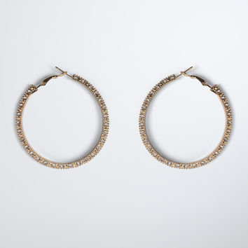 Textured Rhinestone Hoop Earrings