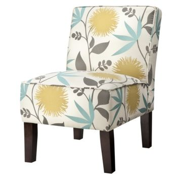 Burke Armless Slipper Chair - Aegean Blue/Yellow Floral