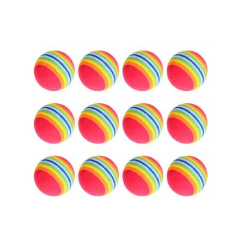 VKTECK 12 Pc.  Pack Foam Rainbow Golf Training Balls; 42mm