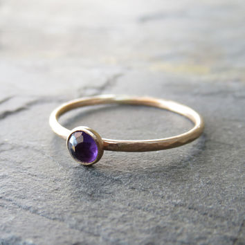 14k Gold Amethyst Stacking Ring - 4mm Round Rose Cut Amethyst in Hammered, Matte Gold - Amethyst Mother's Ring - February Birthstone