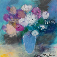 Small Abstract Floral, Modern Still Life, Acrylic Painting 8x8, Pink and White Flowers in a Blue Room