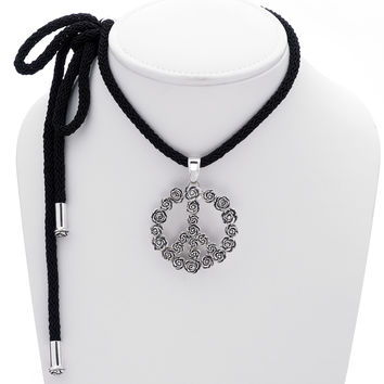 Imagine Peace Rose Sterling Silver Black Cord Necklace