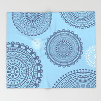 Circles pattern blue. Throw Blanket by Siret