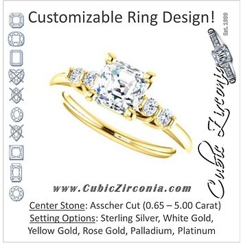 Cubic Zirconia Engagement Ring- The Karima (Customizable Asscher Cut 5-stone style with Quad Bar-set Round Accents)