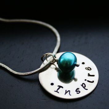 Inspire Necklace, Positive Words, Goals, Gemstone, Pearl, Gift, Inspired, Friend, Bridesmaids, Wedding, Encourage