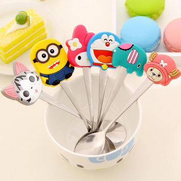 Free shipping Cartoon cute animal silicone handle stainless steel tea coffee spoon kitchen utensils Doll Collection Baby toys