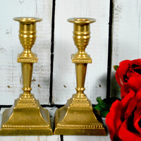 Pair of Gold Candelabra  , Candle Sticks Holder , Art Deco Style